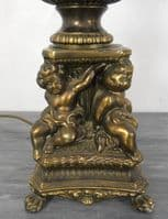 Brass Column Table Lamp with Cherub Base